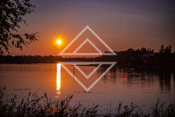 Summer Sunset Over Lake