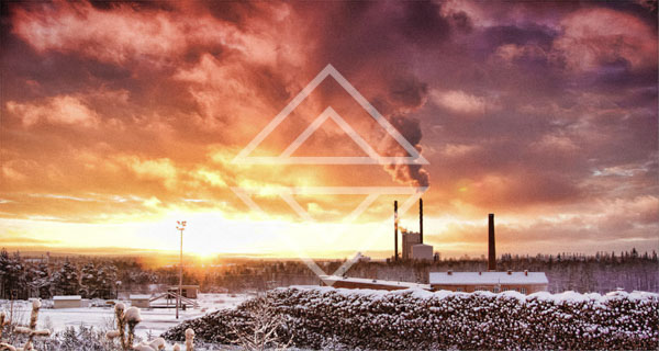 Industrial Views During a Wintry Sunset